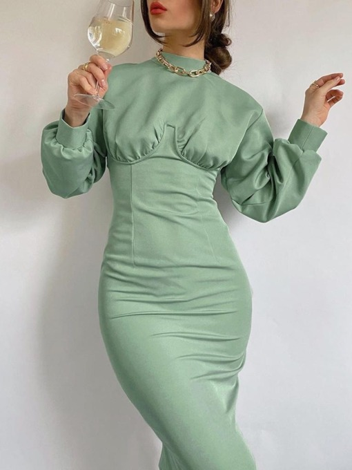 Long Sleeve Pleated Stand Collar Mid-Calf Sexy Women's Dress