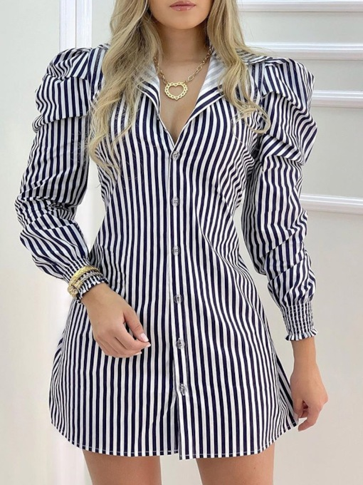 Lapel Nine Points Sleeve Pleated Above Knee Puff Sleeve Women's Dress