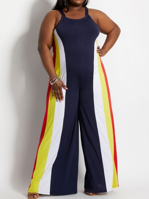 Full Length Zipper Western Color Block Straight Women's Jumpsuit