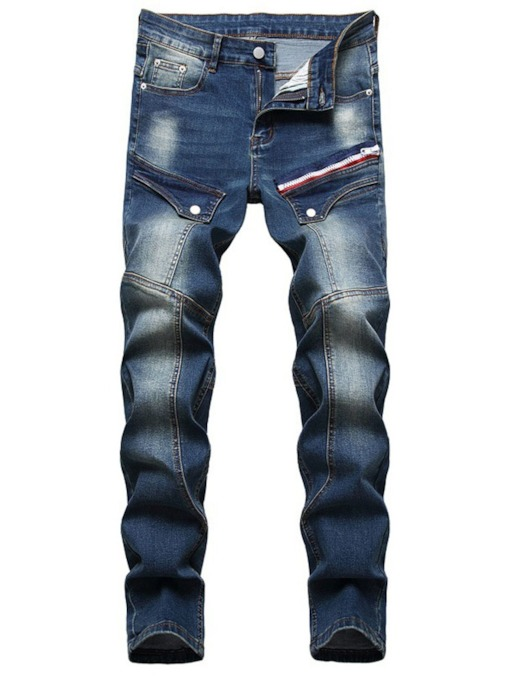 Zipper Straight Zipper Men's Jeans
