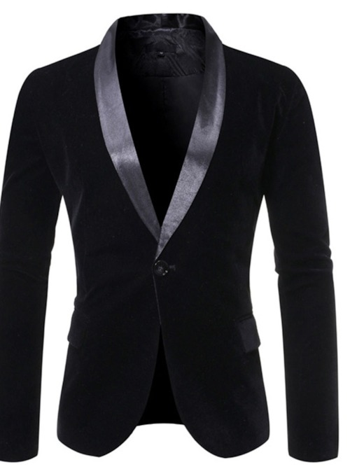 One Button Color Block Casual Notched Lapel Men's Leisure Blazer