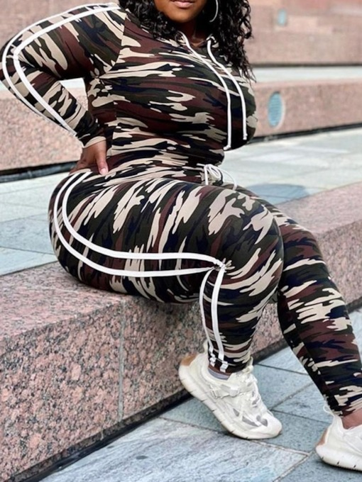 Ankle Length Pants Camouflage Sports Pullover Women's Two Piece Sets