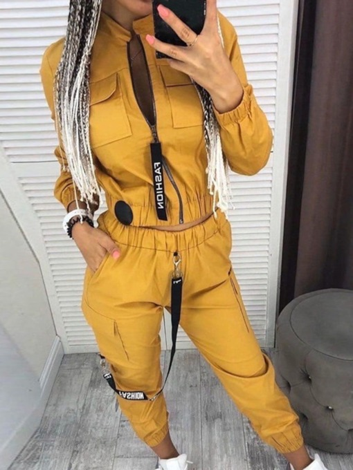 Letter Ankle Length Pants Zipper Casual Pencil Pants Women's Two Piece Sets