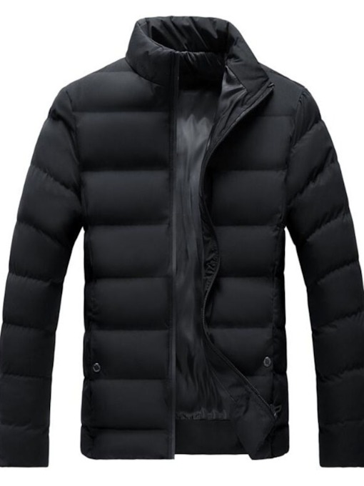 Plain Stand Collar Standard Zipper Men's Down Jacket