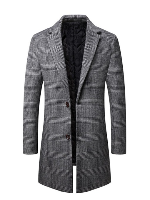 Notched Lapel Mid-Length Plaid Single-Breasted Men's Coat
