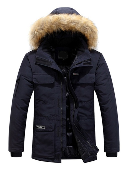 Letter Pocket Hooded Standard Zipper Men's Down Jacket