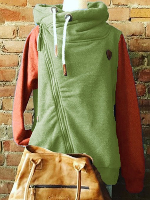 Zipper Regular Patchwork Color Block Standard Women's Hoodie