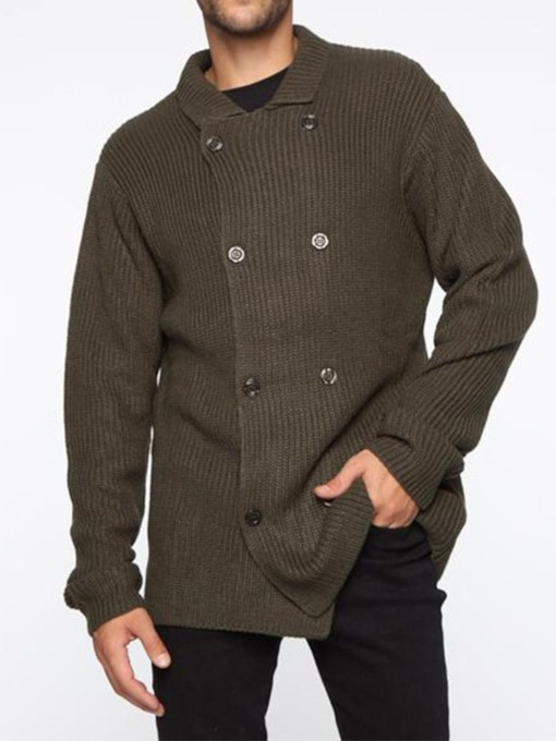 Lapel Plain Standard Double-Breasted Men's Sweater