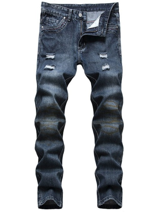 Straight Hole Mid Waist Slim Men's Jeans