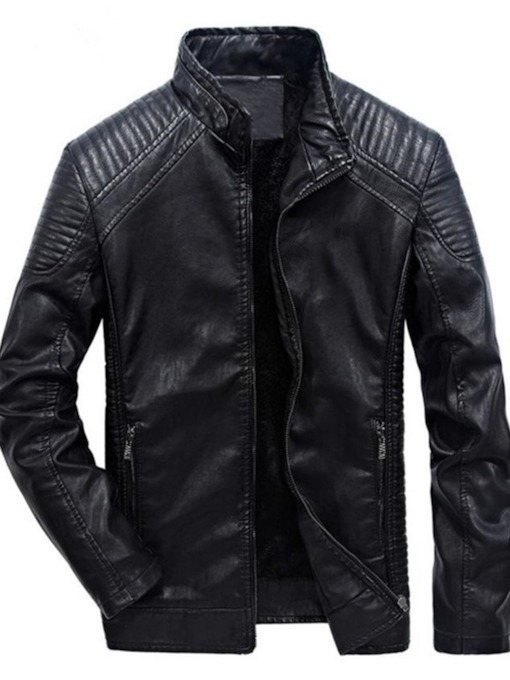 Standard Stand Collar Plain Straight Men's Leather Jacket