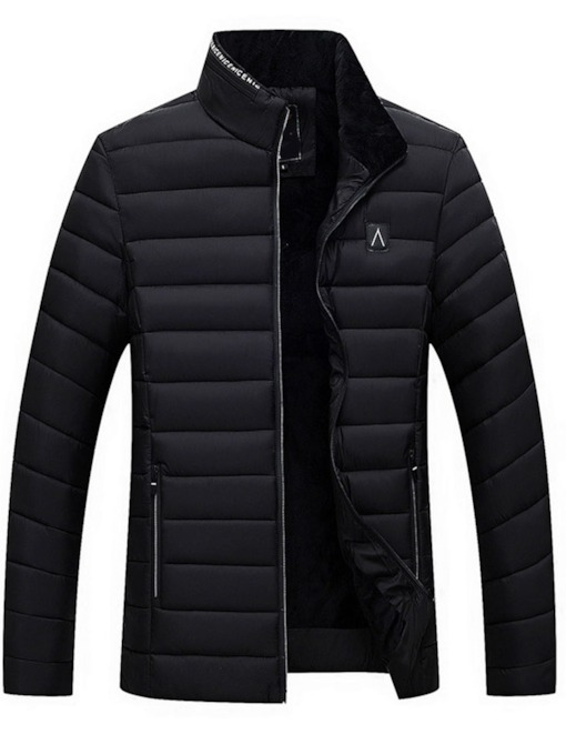 Standard Stand Collar Letter Zipper Men's Down Jacket