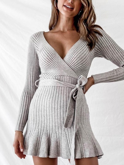 V-Neck Above Knee Lace-Up Long Sleeve Date Night/Going Out Women's Dress