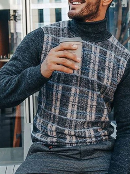 Standard Turtleneck Patchwork Plaid Slim Men's Sweater