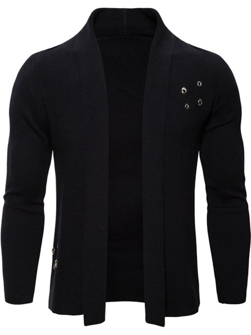 Lapel Plain Standard European Men's Sweater