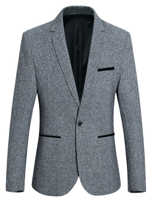 Slim One Button Color Block Notched Lapel Men's Leisure Blazer