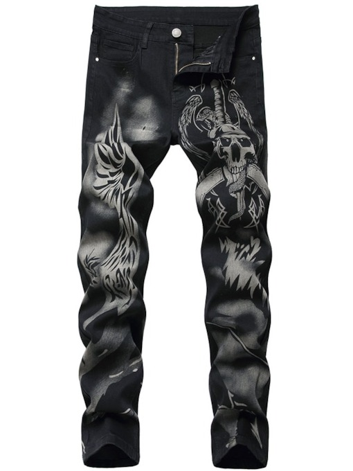 Print Straight Skull Zipper Men's Jeans
