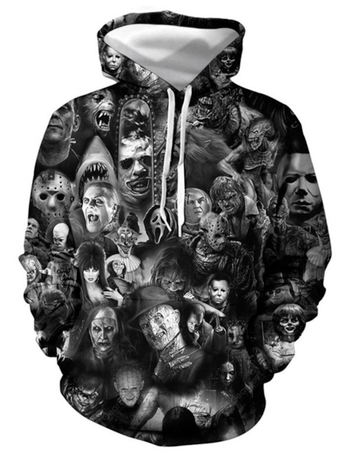 Skull Pullover Print European Men's Hoodies