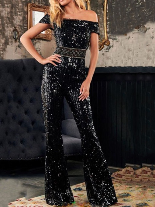 Full Length Plain Sequins Fashion Bellbottoms Women's Jumpsuit