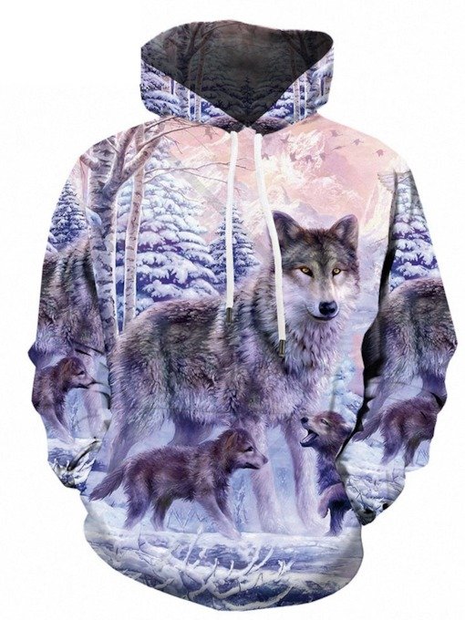 Pullover Animal Print Loose Men's Hoodies