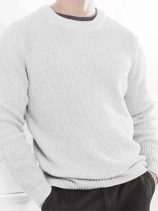 Plain Standard Round Neck Casual Slim Men's Sweater