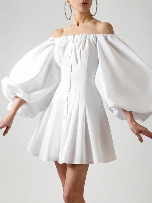 Above Knee Three-Quarter Sleeve Pleated Off Shoulder A-Line Women's Dress