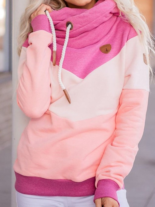 Patchwork Color Block Regular Long Sleeve Women's Hoodie