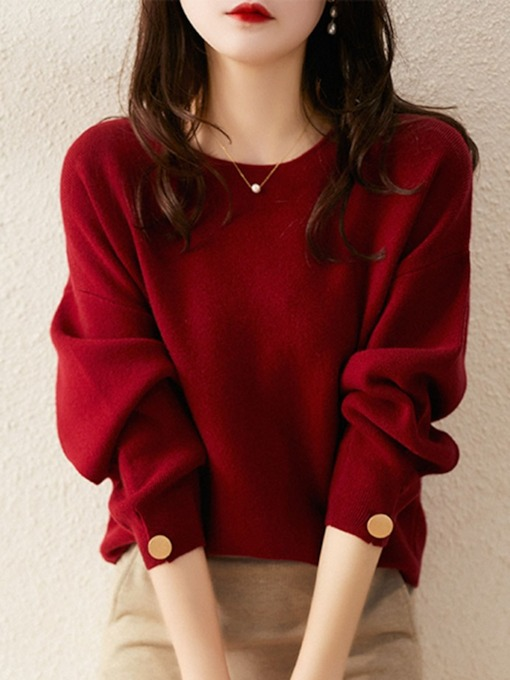 Loose Scoop Pullover Long Sleeves Women's Sweater