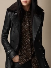 PU Double-Breasted Mid-Length Slim Winter Women's PU Jacket