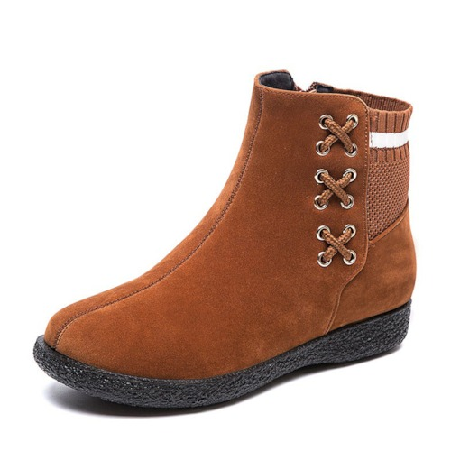 Patchwork Wedge Heel Round Toe Side Zipper Korean Boots