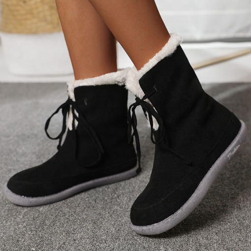 Plain Lace-Up Front Flat With Round Toe Thread Boots