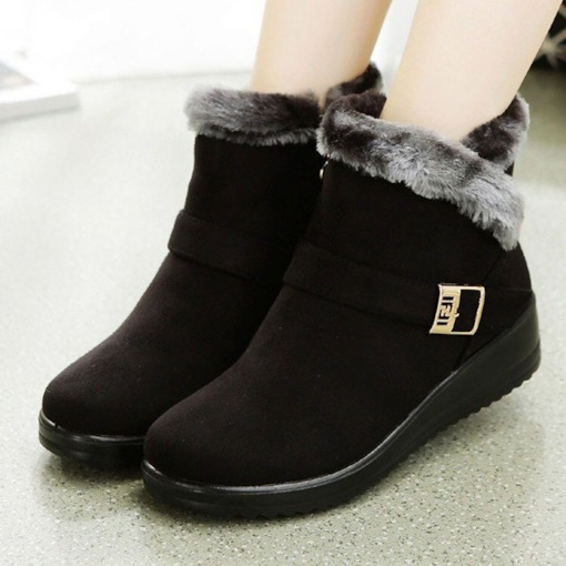 Round Toe Patchwork Slip-On Wedge Heel Casual Boots