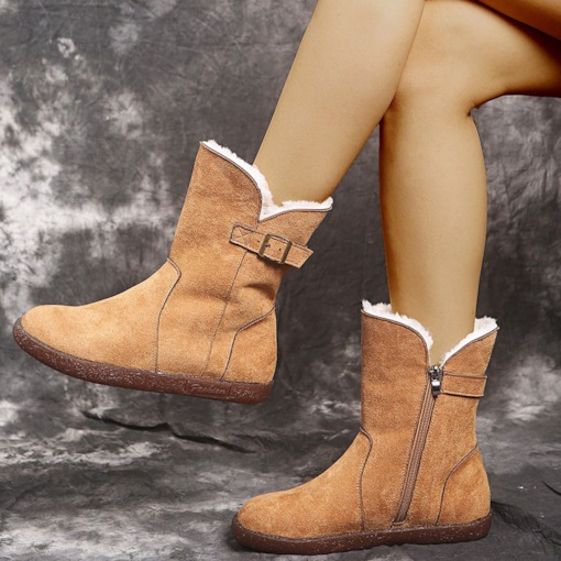 Round Toe Flat With Hasp Plain Casual Boots