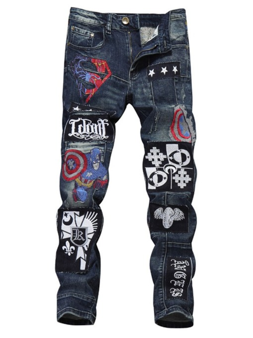 Embroidery Straight Letter Zipper Men's Jeans