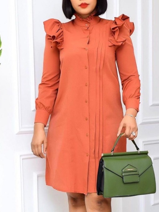 Stand Collar Stringy Selvedge Knee-Length Long Sleeve Single-Breasted Women's Dress
