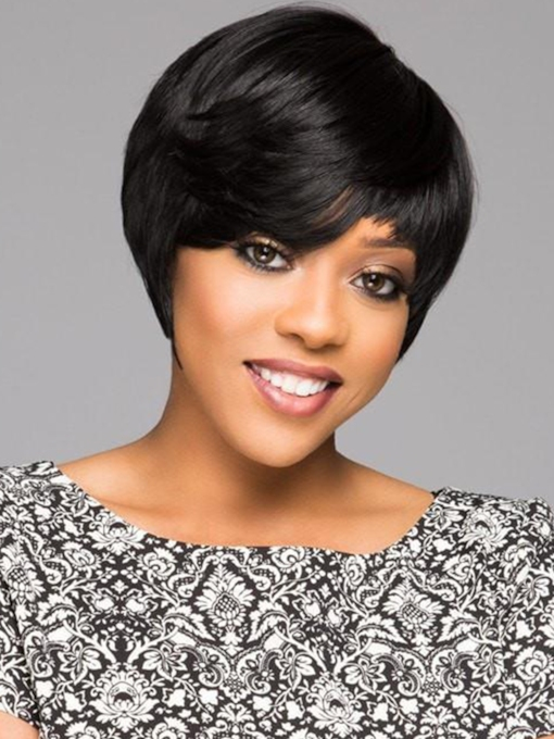 Short Bob Hairstyles Women's Boy Cut Straight Human Hair Capless 120% 8 Inches Wigs