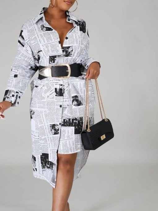 Mid-Calf Lapel Long Sleeve Print Single-Breasted Women's Dress