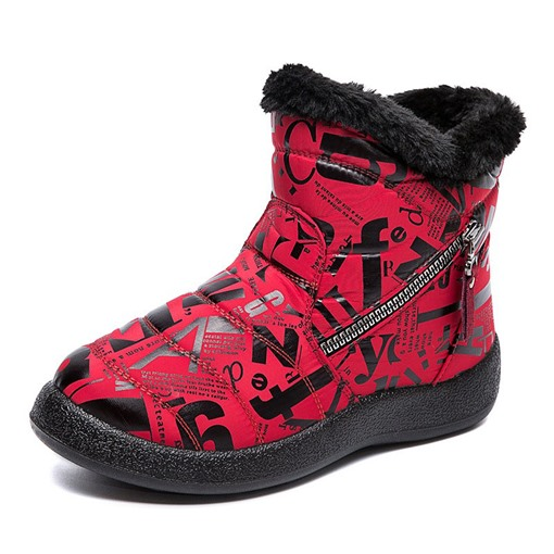 Round Toe Letter Side Zipper Casual Boots