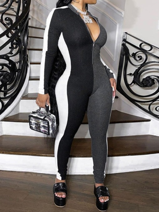 Full Length Western Zipper Color Block Pencil Pants Women's Jumpsuit