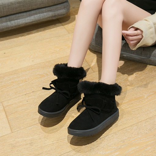 Slip-On Flat With Round Toe Plain Bow Boots