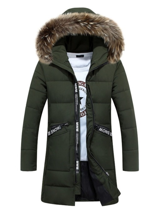 Stand Collar Mid-Length Print Letter Zipper Men's Down Jacket
