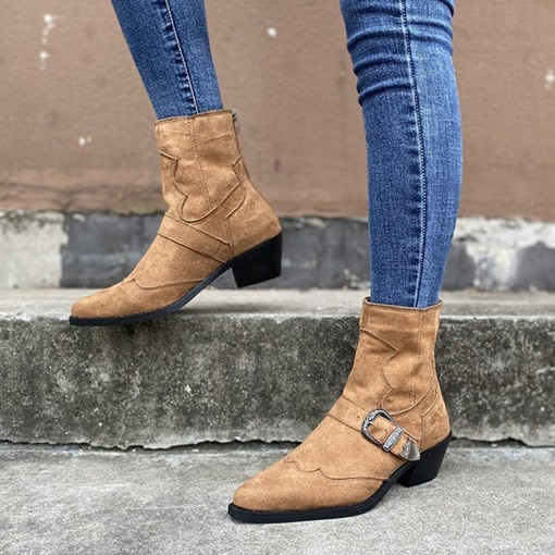 Back Zip Plain Pointed Toe Chunky Heel Buckle Boots