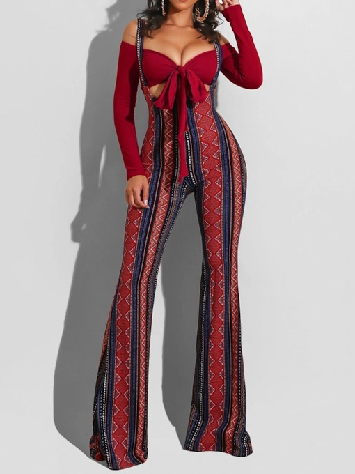 Jumpsuit Sexy Geometric Bellbottoms Women's Two Piece Sets