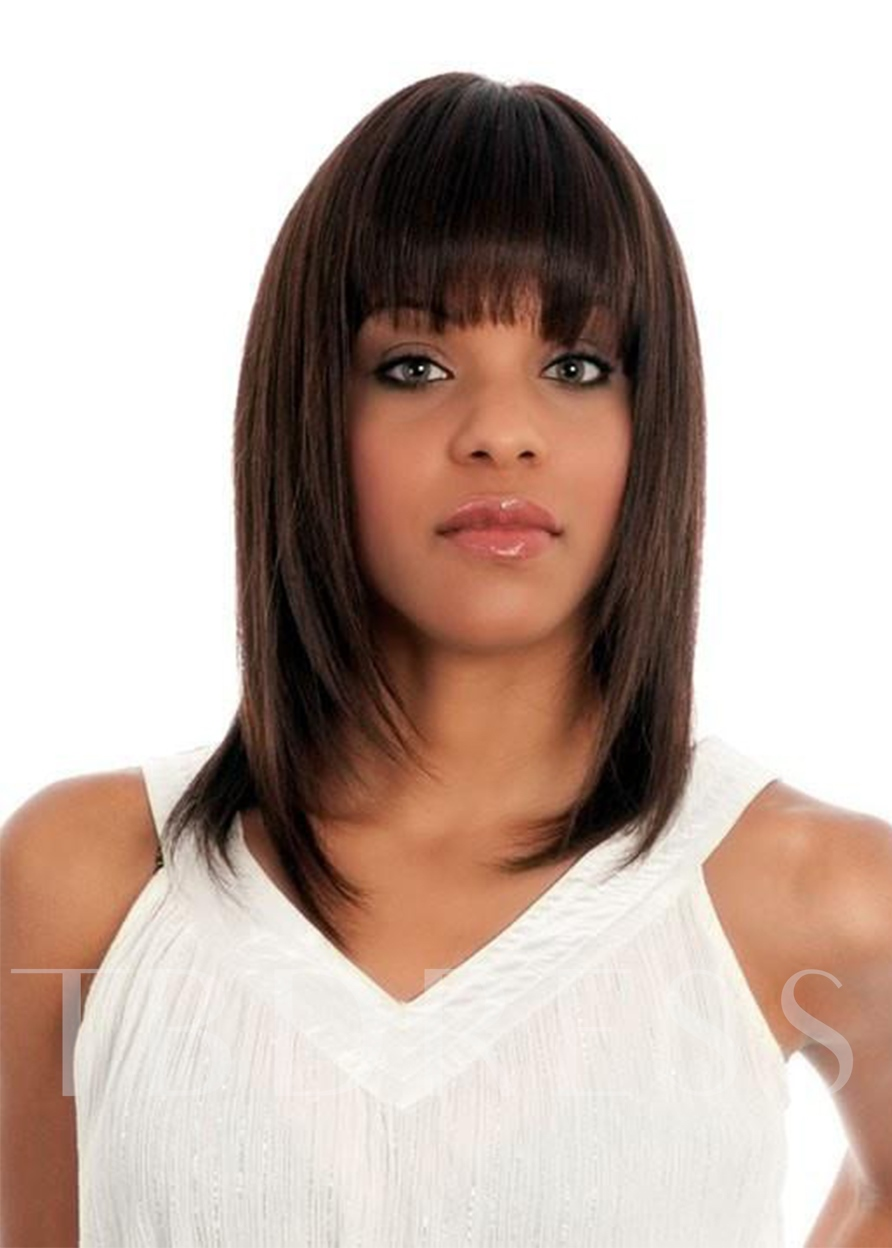 Medium Hairstyle Women's Bob Style Straight Human Hair Wigs With Bangs Capless 16 Inches 120% Wigs