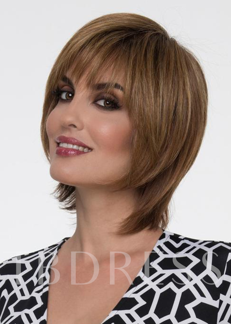 Piecey Jaw-Length Layers Hairstyle Women's Straight Human Hair Capless 120% 8 Inches Wigs