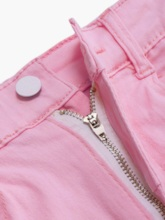Plain Straight Zipper Skinny Women's Shorts