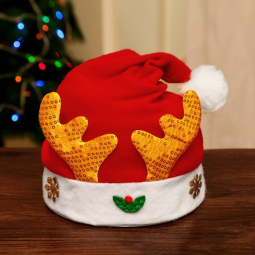 Cloth Color Block Hats Christmas Decoration Supplies