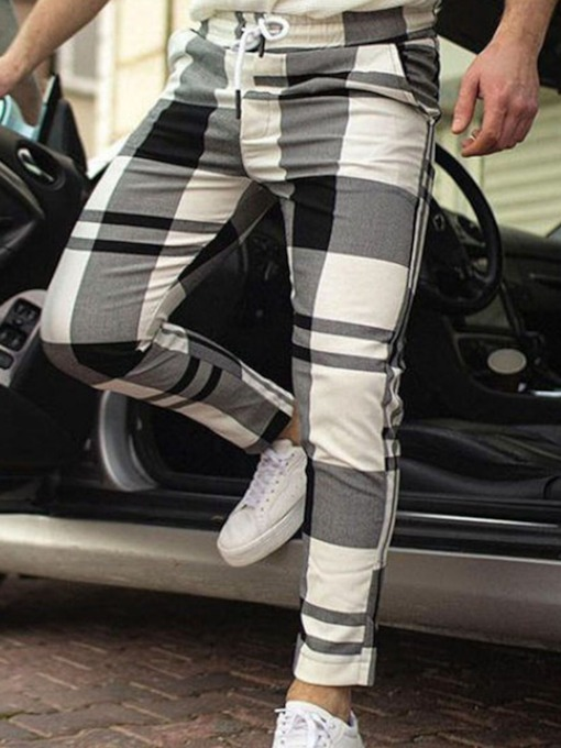 Straight Plaid Mid Waist Men's Casual Pants