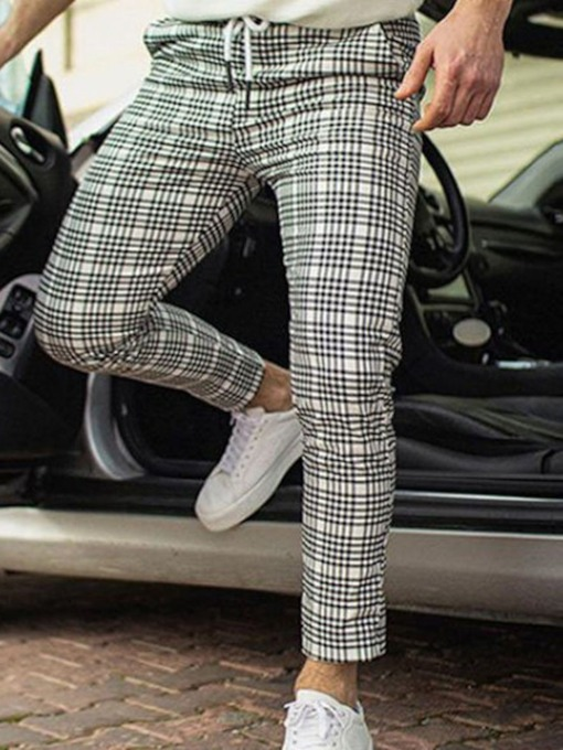 Straight Slim Plaid Fall Men's Casual Pants