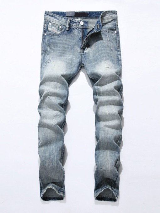 Plain Straight Worn European Men's Jeans