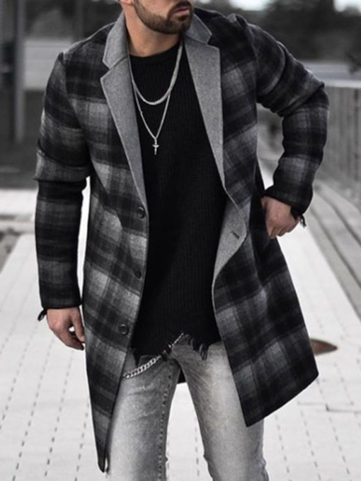 Mid-Length Plaid Single-Breasted Winter Men's Coat